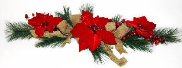 Poinsettia Christmas swag