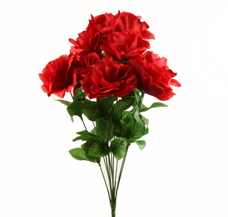 Red Artificial Rose Bunch x 10 Stems