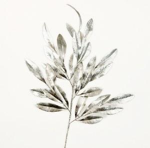 """Silver Glitter Christmas Leaves Stem 25"""""""