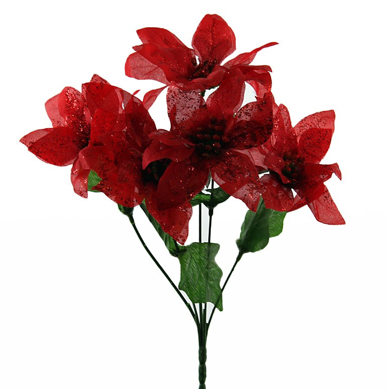 Christmas Poinsettia Bunch- Red & Glitter x 5 Stems