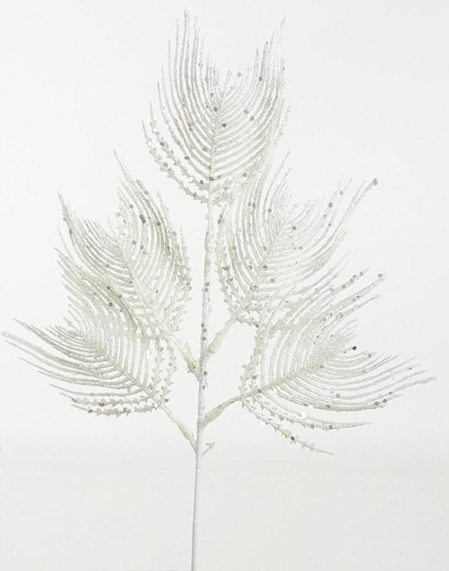 Christmas Leaves Glitter White 36cm