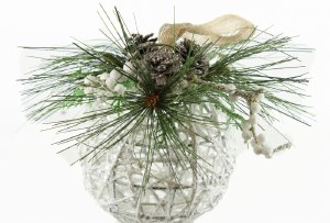 """Christmas Bauble Wicker White 7"""""""