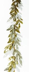 Christmas Glitter Garland Leaves - Champagne/ White/ Gold 6FT