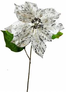 """Christmas Poinsettia 20"""" White/Silver"""