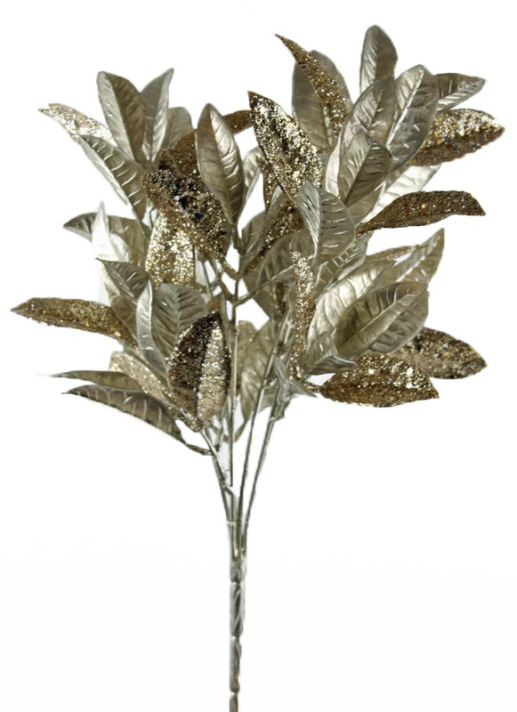 """Christmas Artificial Glitter Leaves 14.5"""""""