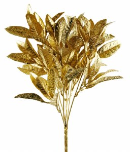 "Christmas Artificial Glitter Leaves 14.5"" Gold"