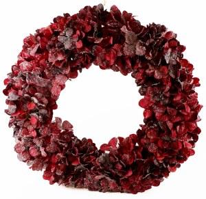 "Artificial Christmas Hydrangea Snow/ Glitter Door Wreath 24"""