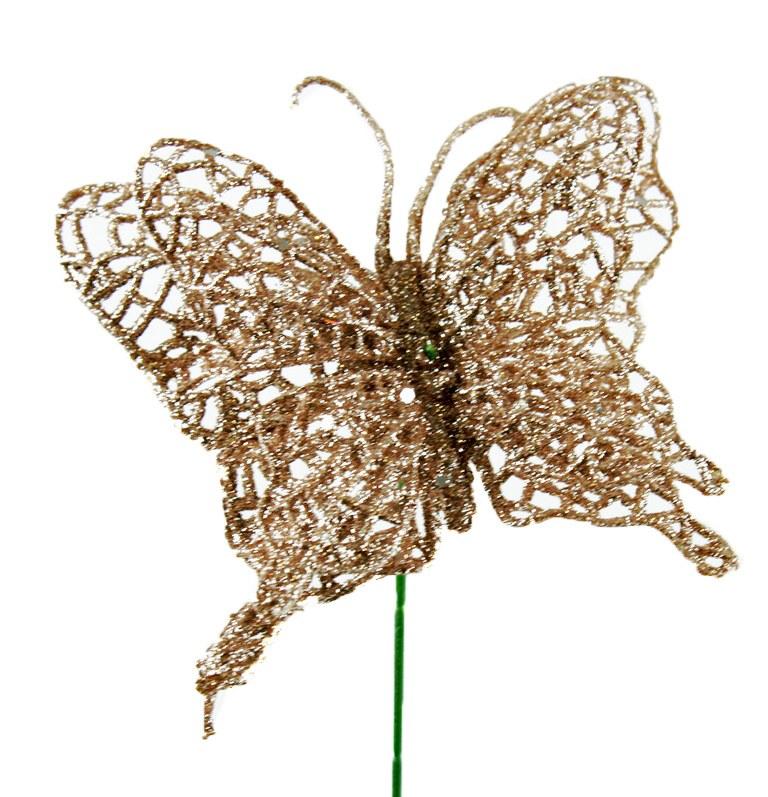 "Glitter Butterfly Pick Rose Gold 4"""