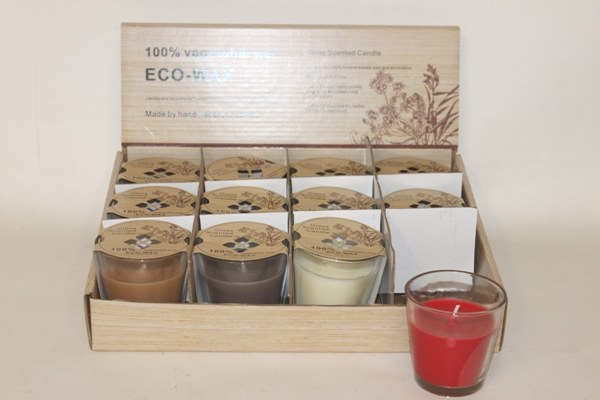 Glass scented candles in presentation box x 12