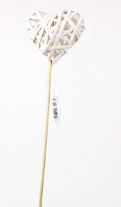 Florist Heart Wicker Pick 40cm White