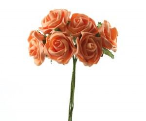 Peach colourfast foam roses x 6-7cm