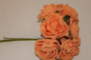 Peach crinckle colourfast foam roses x 6-8cm