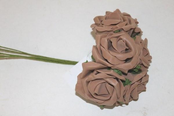 Brown medium colourfast foam roses x 6-6cm