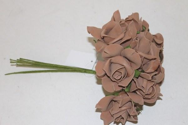 Brown colourfast foam roses x 8-7cm
