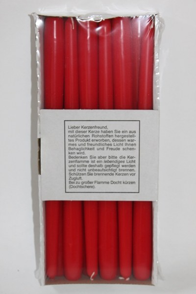 12 Red taper candles 300/23mm