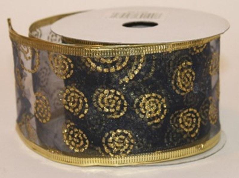 Black & gold swirl ribbon, 2.5in x 10yds
