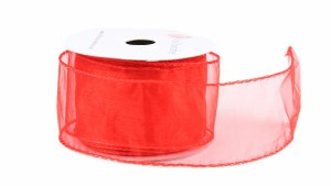 Wired Edge Red Organza Ribbon 2.5in x 10yards