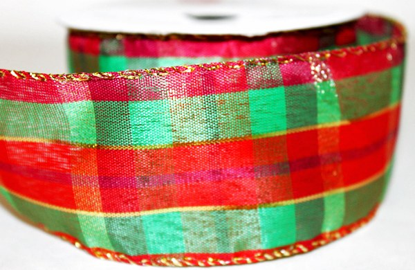 """Christmas tartan ribbon with wired edge 2.5"""" x 10yards"""