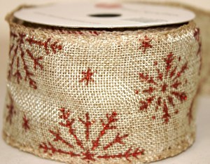 """Hessian wired edge ribbon with red snowflake 2.5"""" x 10yards"""