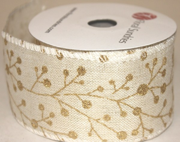 "Cream hessian ribbon with gold glitter 2.5"" x 10yards"