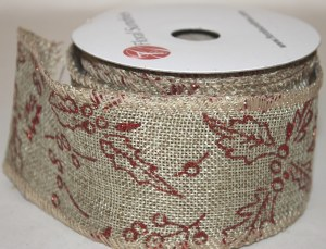 """Hessian wired edge ribbon with red holly 2.5"""" x 10yards"""