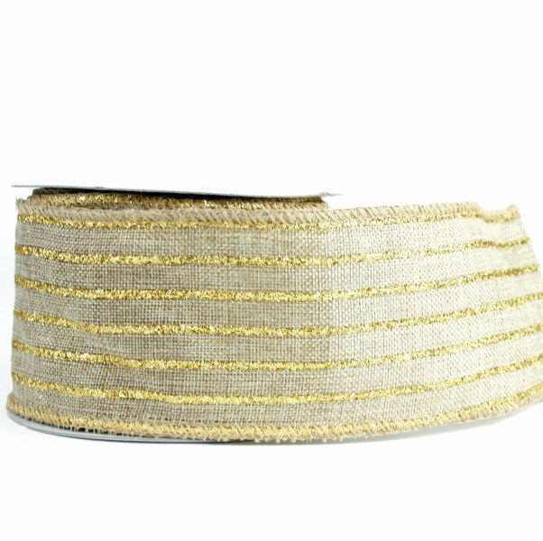 "Hessian burlap ribbon/ gold stripe 2.5"" x 10yards"