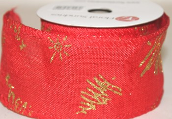 """Red hessian ribbon with gold Christmas tree 2.5"""" x 10yards"""