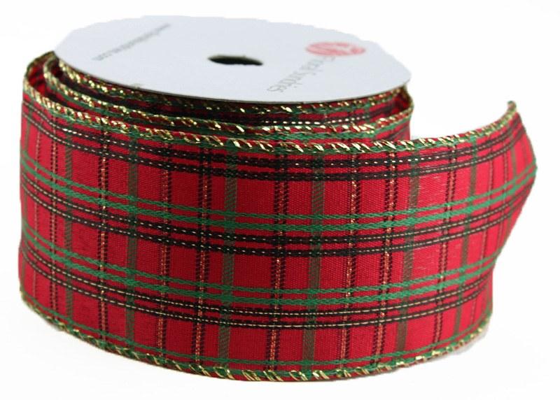 "Christmas Tartan Ribbon 2.5"" x 10Yards Wired Edge"