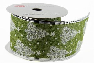 "Christmas Tree Ribbon Green/ Silver 2.5"" x 10Yards Wired Edge"