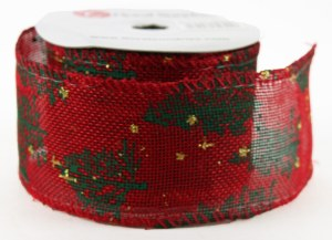 "Christmas Tree Ribbon Red Wired Edge 2.5"" x 10Yards"