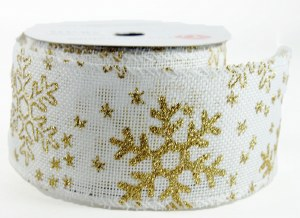 "Christmas Ribbon Wired Edge White/ Gold Snowflake 2.5"" x 10 Yards"