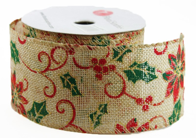 "Ribbon Poinsettia Christmas Wired Edge 2.5"" x 10 Yards"
