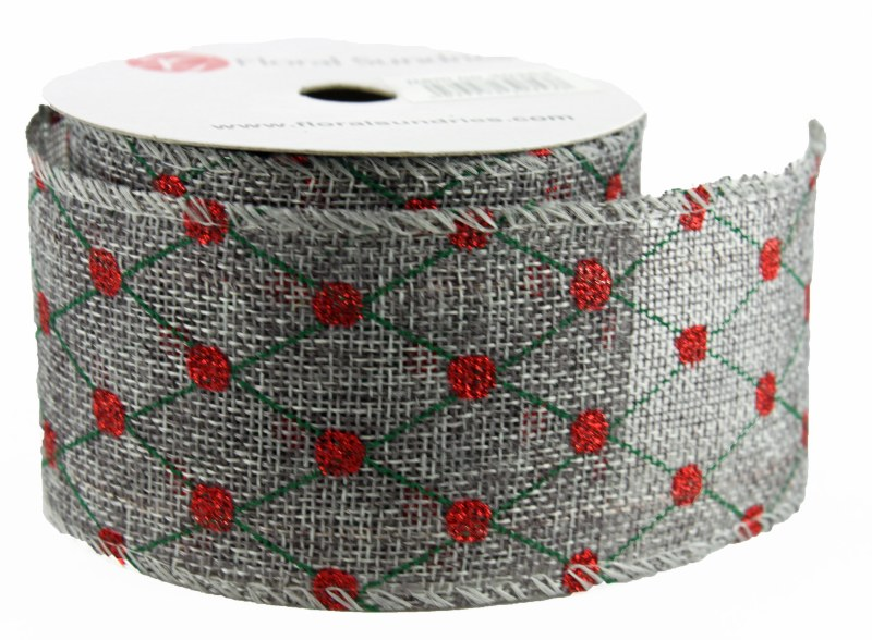"Christmas Ribbon Wired Edge 2.5"" x 10 Yards Grey/ Red/ Green"
