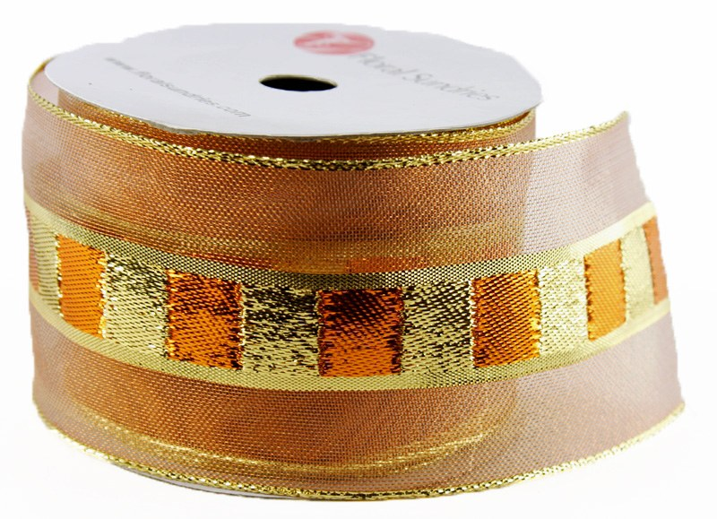 "Christmas Ribbon Wired Edge Gold/ Copper 2.5"" x 10 Yards"