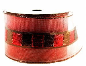 "Christmas Ribbon Wired Edge Burgundy/ Red 2.5""  x 10 Yards"