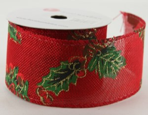 "Christmas Ribbon Wired Edge Holly 2.5"" x 10 Yards"