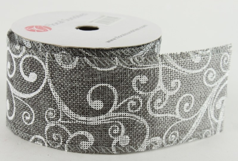 "Christmas Ribbon Wired Edge Grey 2.5"" x 10 Yards"