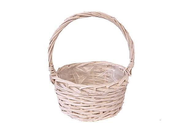 White round wicker basket planter