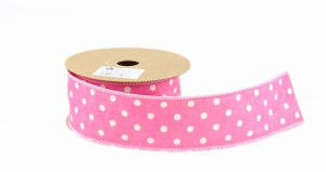 Pink Dot Hessian Wired Edge Ribbon 4cm x 10 yards