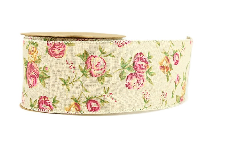 Rose Hessian Wired Edge Ribbon 7cm x 10yards