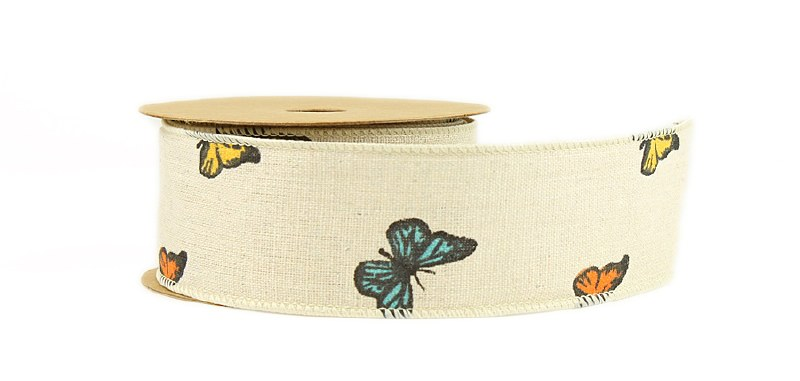 Natural Ribbon Butterfly 5cm x 10yards