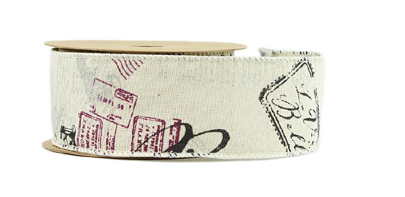 Vintage Style Stamp Wired Edge Ribbon 5cm x 10yards