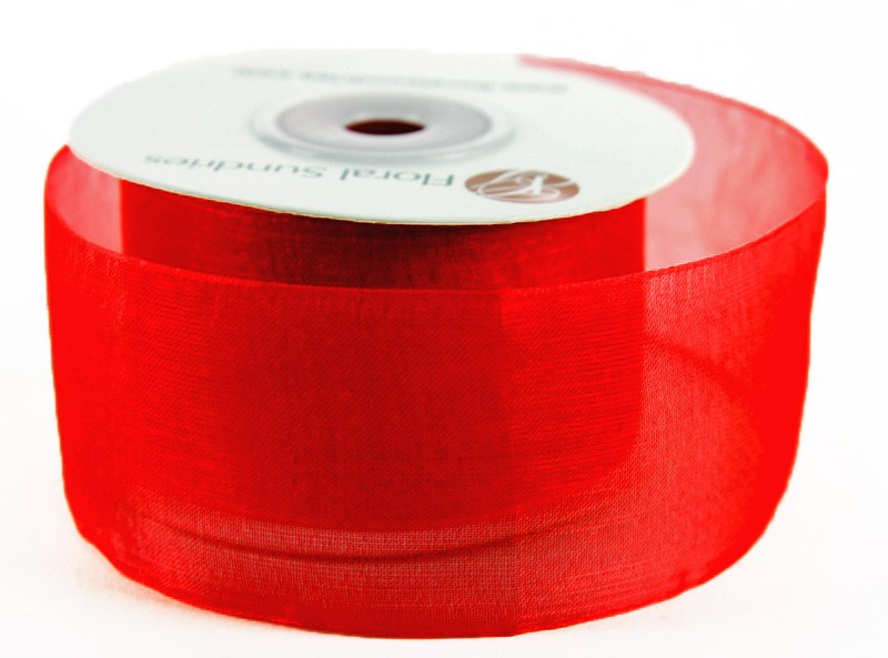 Organza Ribbon Red 4cm x 25 Yards