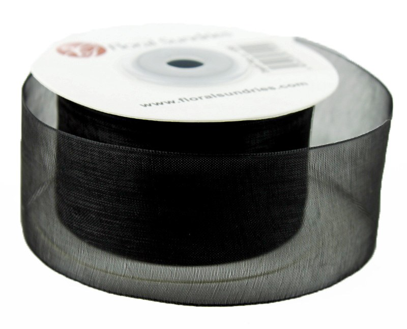Organza Ribbon Black 4cm x 25 Yards
