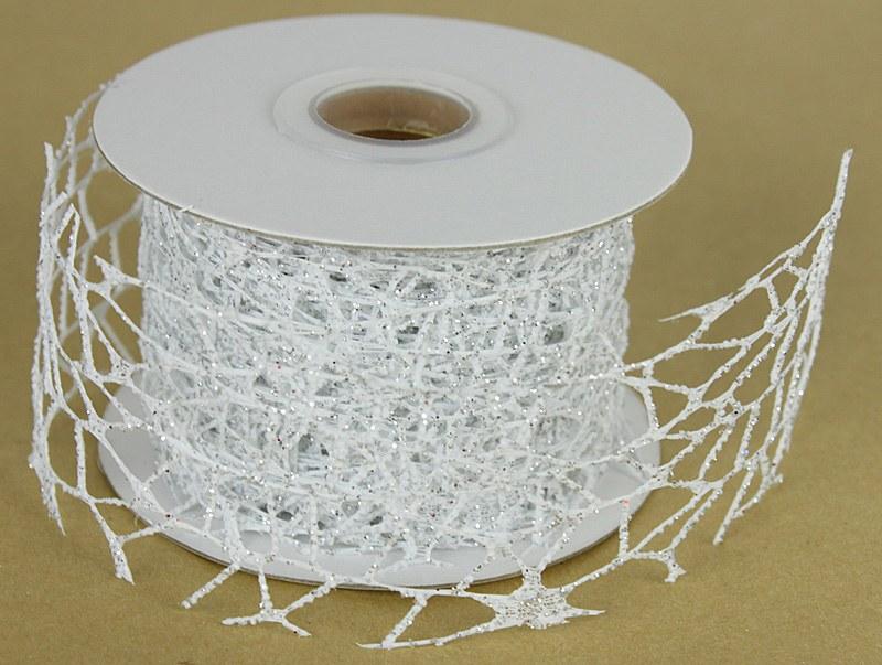 Mesh Ribbon White Glitter 5cm x 10 Yards