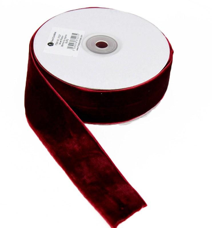 Ribbon Velvet Burgundy 38mm x 10 Yards Approx