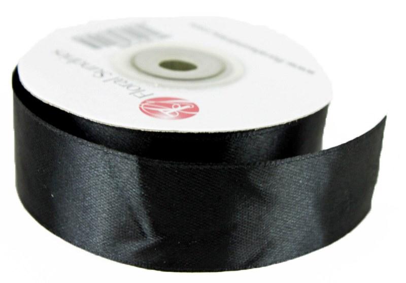 Satin Ribbon Black 25mm x 25 Yards