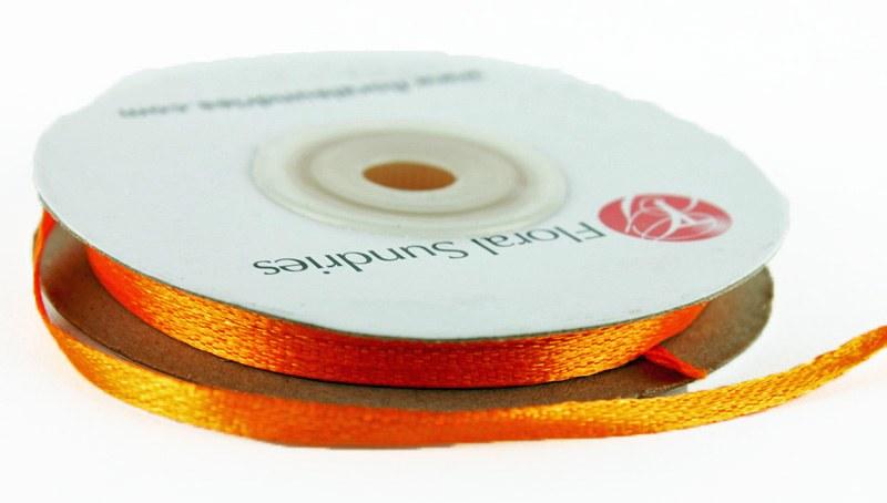 Satin Ribbon Orange 3mm x 25 Yards
