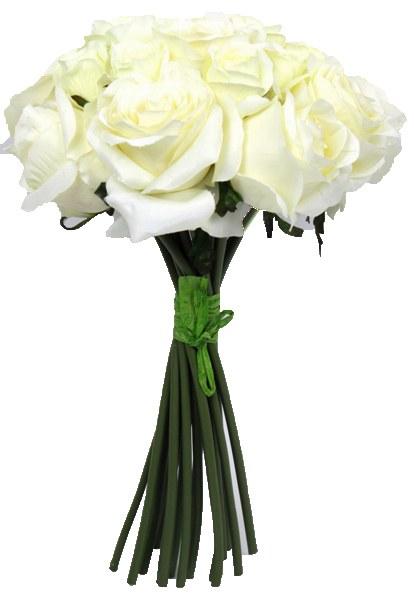 Cream silk rose bush with 18 stems, height-40cm