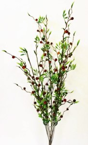 Red berry and green leaf spray, height-60cm